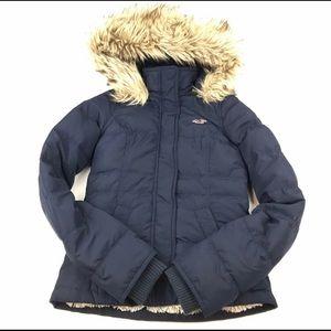 Hollister Down Navy Blue coat w/ fur lined hood